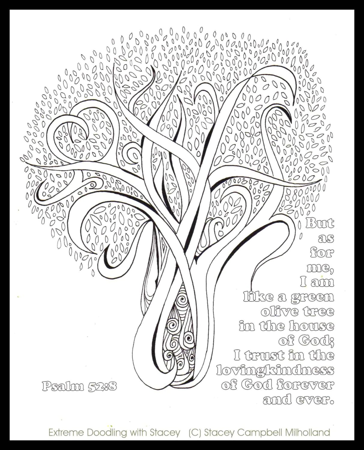 Olive Tree Coloring Page Digital Download Psalm 52:8