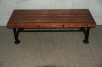 Industrial Steampunk Bench or Coffee Table With Pipe Legs