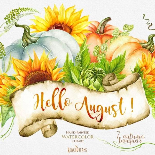 pumpkin & sunflower watercolor