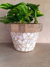 Mosaic Flower Pot Outdoor Planter Rustic Herb Container