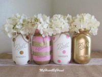 Pink and Gold Baby Shower Decorations Baby Shower Mason Jars