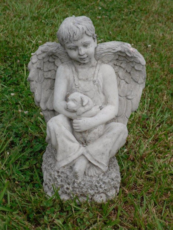 Angel Holding Dog Garden Statue