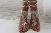 Barefoot Sandalsbeaded Ivory Lace Shoesbridal Sandals