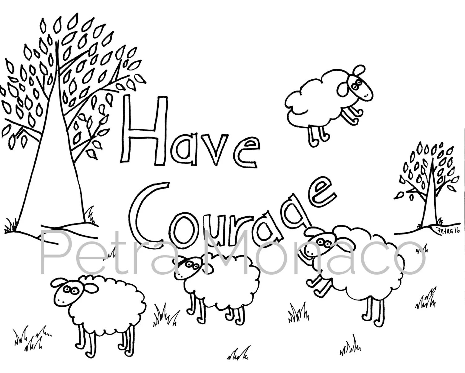 Have Courage Printable Affirmation Coloring Page