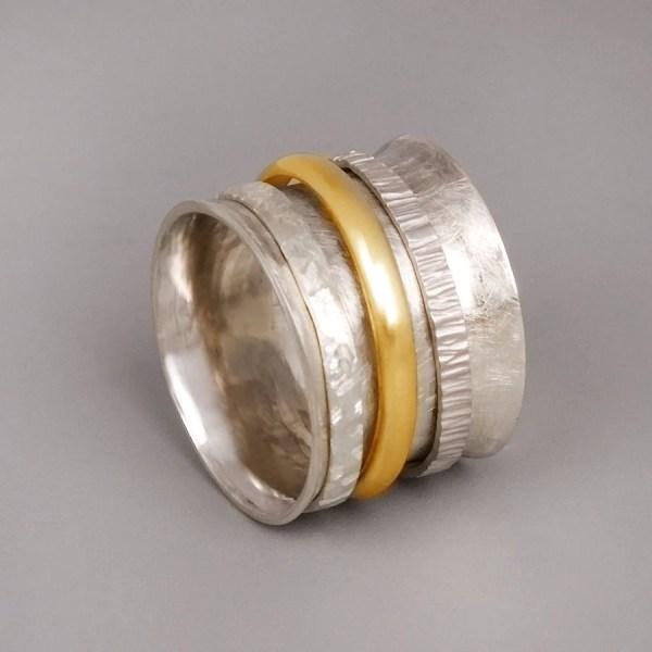 Meditation Ring Silver Spinner Chunky Big