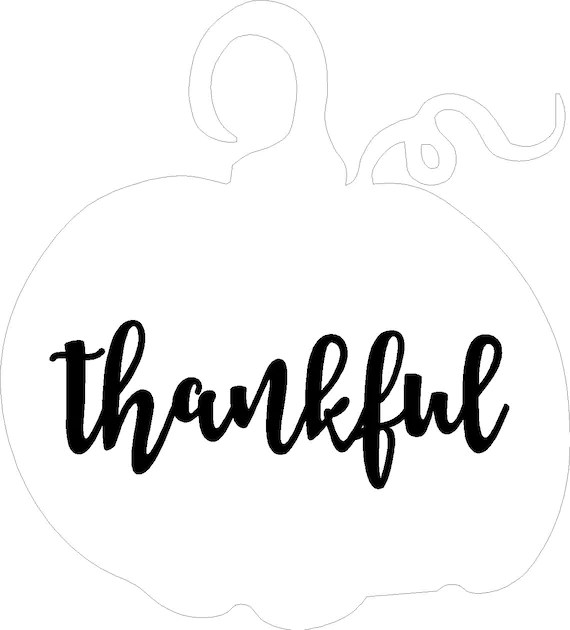 Thankful decal or stencil lettering only pumpkin is for