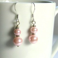 Pink Pearl and Silver Earrings Pale Pink Pearl Earrings