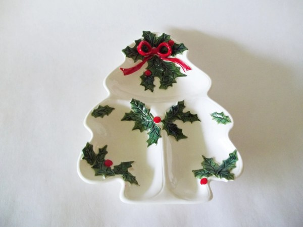 Vintage Lefton Christmas Tree Divided Serving Tray Holly