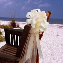 Beach Wedding Chair Decoration Ideas Vivere Hanging 10 Ivory Pew Pull Bows Tulle Decorations Church