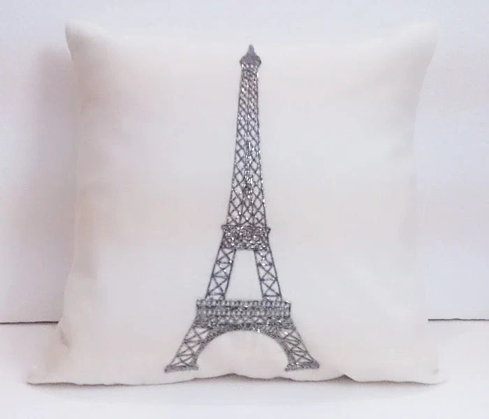 beige off white paris pillow decorative pillow eiffel tower