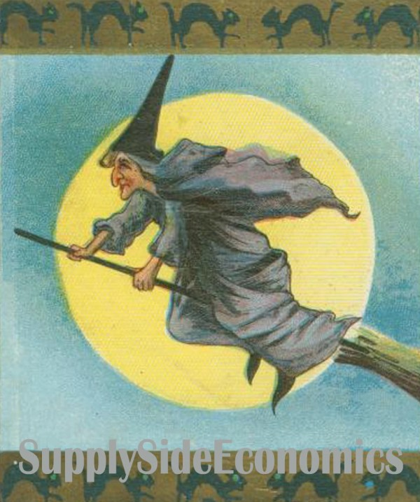 Vintage Witch - Halloween Illustration Full Moon