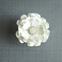 Ivory Color Satin Flower Hair Clip Wedding Hair by JerseyBride