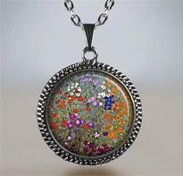 Gustav Klimt Farm Garden necklace, Klimt jewelry, Klimt art jewelry, Klimt art pendant, garden art pendant, gardener's gift garden gift
