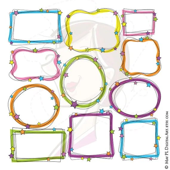 Whimsical Frame Clipart Digital Doodle Frames Hand Drawn