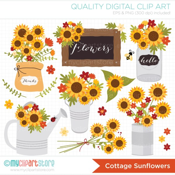 clipart cottage sunflowers fall