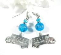 School Bus Earrings Bus Charm Earrings Boho Chic Blue