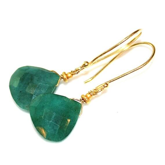 Large Emerald Earrings Emerald Jewelry Green Earrings by
