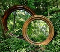 Knotty Alder Country Rustic Round Mirror