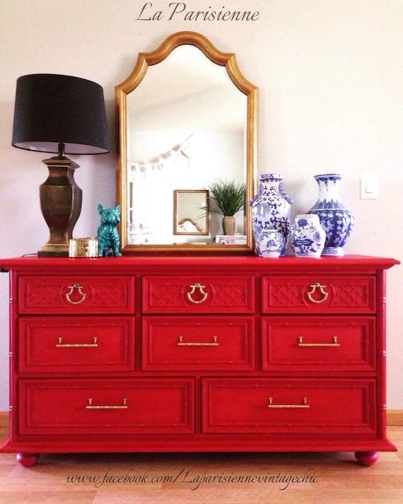 SOLD Red Dresser Vintage Dresser Asian Inspired Dresser