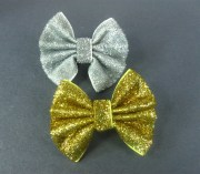 glitter bows gold hair bow silver