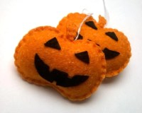 Felt pumpkin ornament halloween decor handmande felt