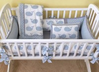 Weathered Blue WHALE TALES Baby Cradle Bedding Set Includes
