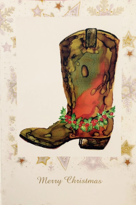 Holiday Card Christmas Card Texas Themed Card Cowboy
