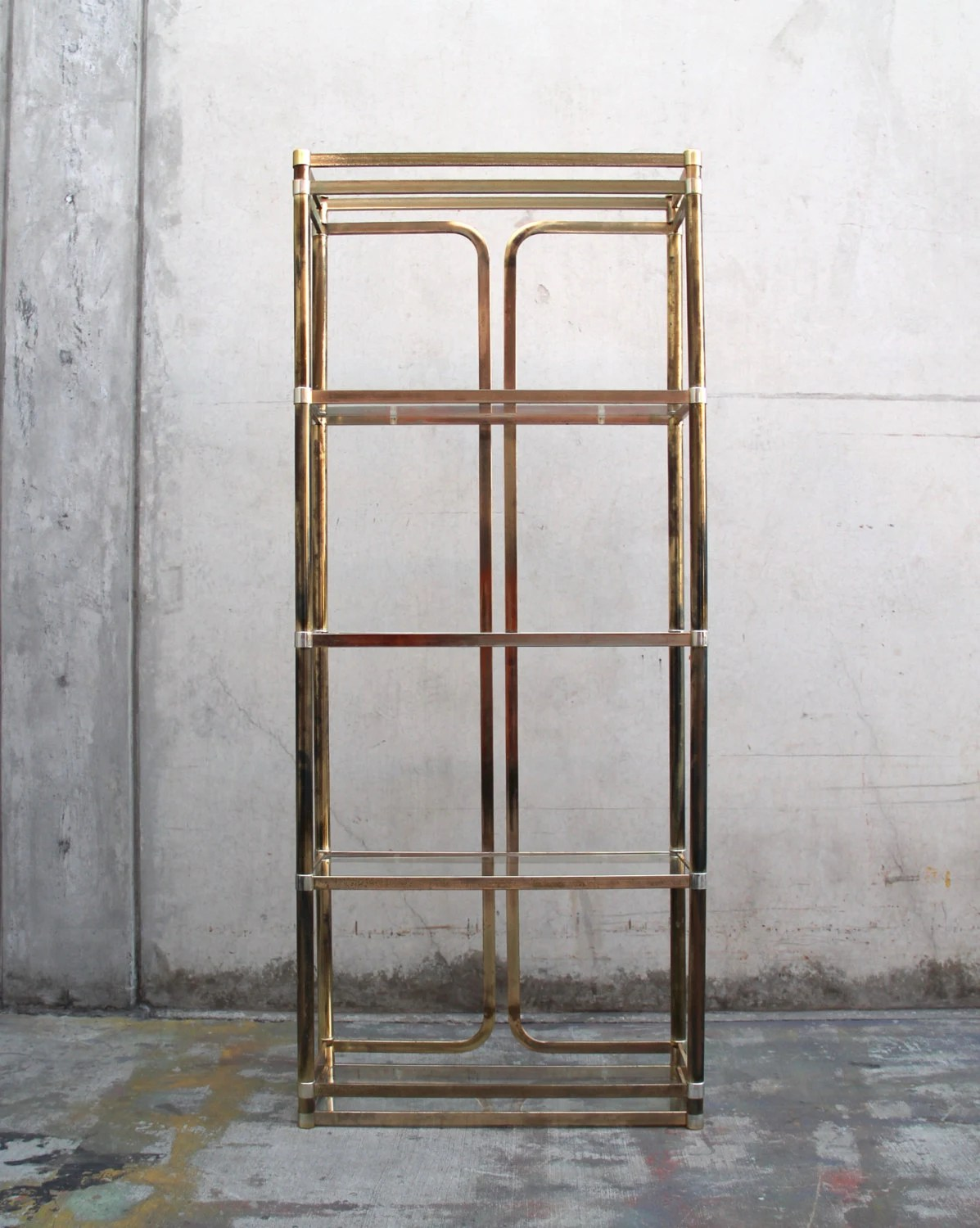Vintage Brass Etagere Bookshelf With Glass Shelves In