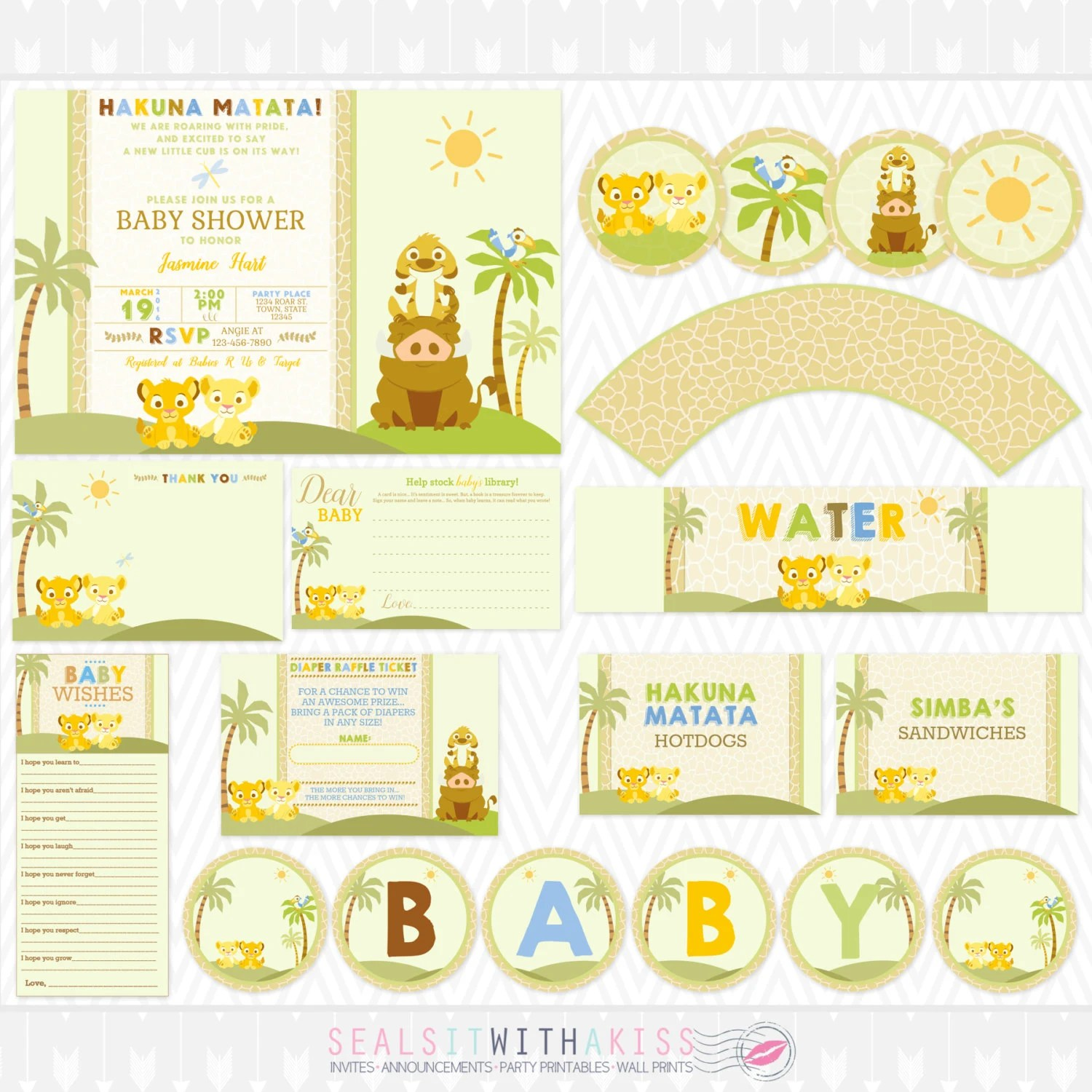 Baby Lion King Baby Shower Party Printable Package