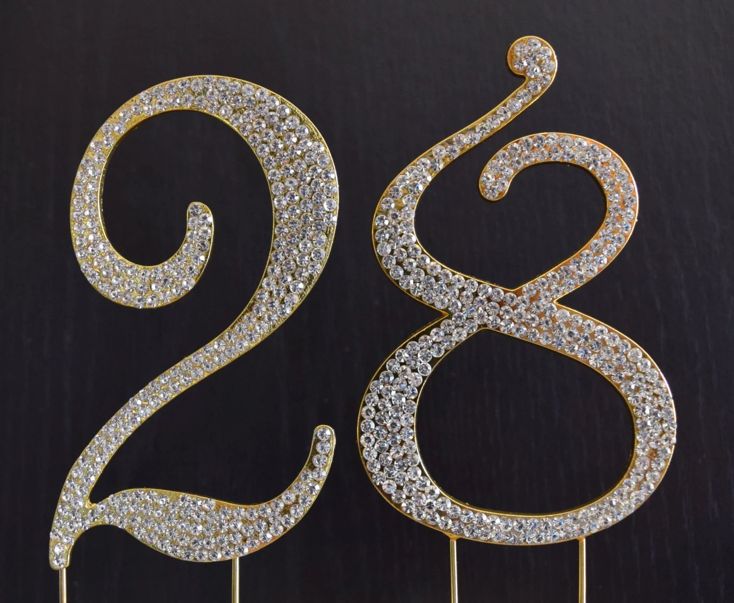 Rhinestone Gold Number 28 Cake Topper 28th Birthday Party