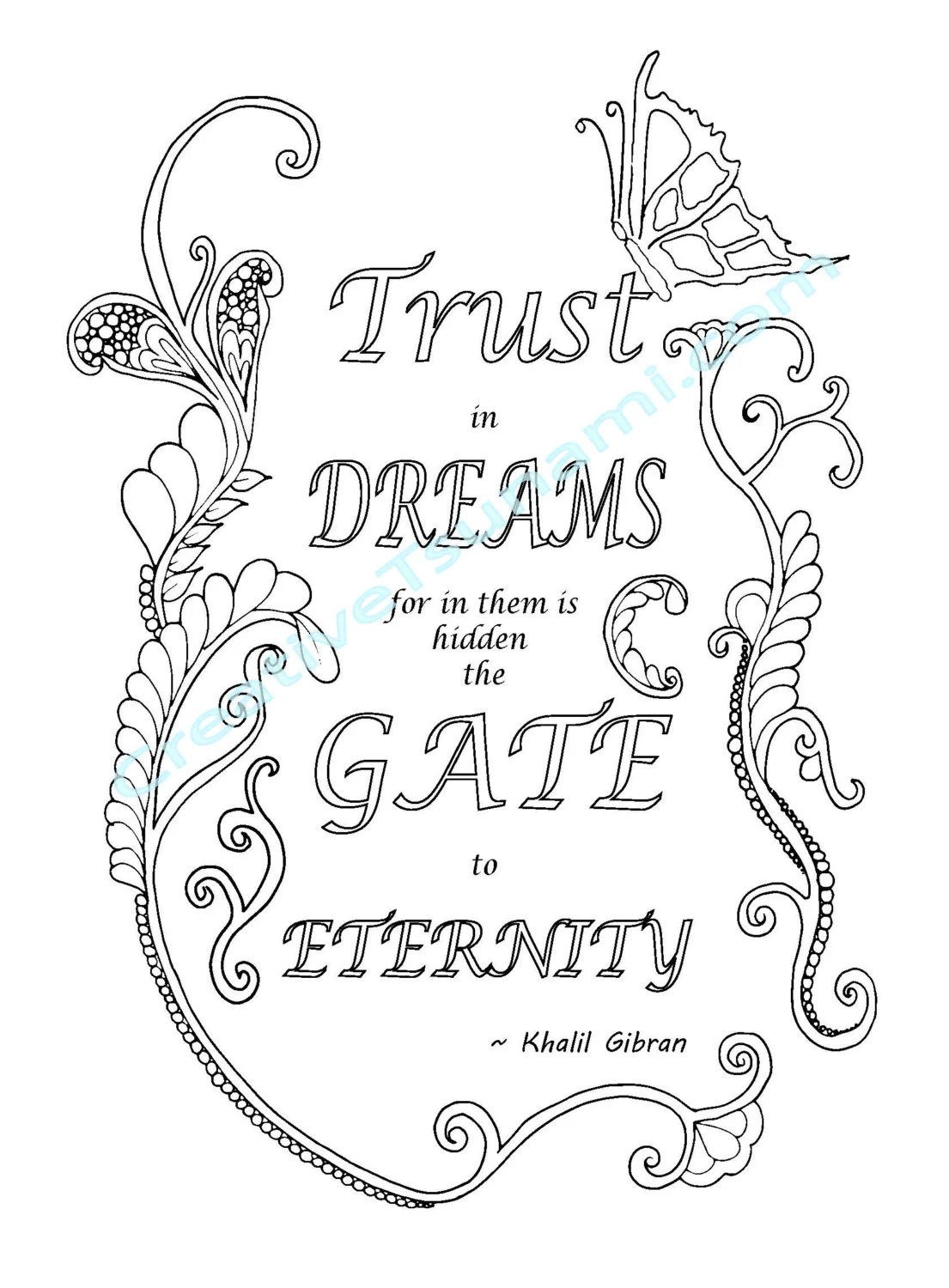 Adult Coloring Khalil Gibran Quote Trust in Dreams