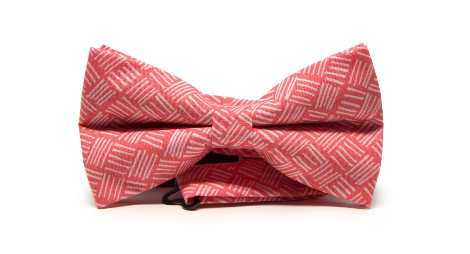 Mens salmon pink bow tie White herringbones bow tie White