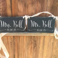 Mr And Mrs Chair Signs Metal Outdoor Chairs With Cushions Custom Chalkboard