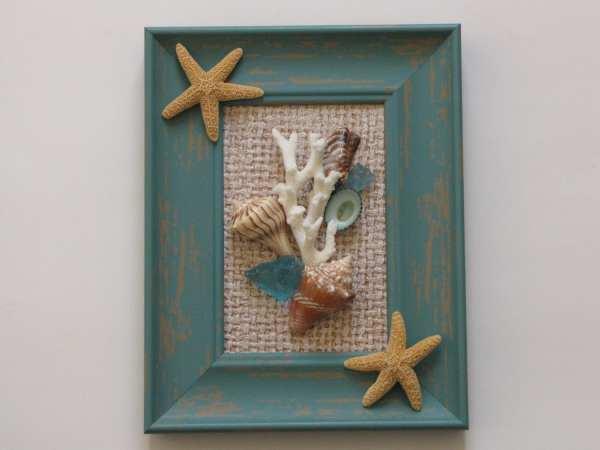 Framed Wall Art Seashells Beach