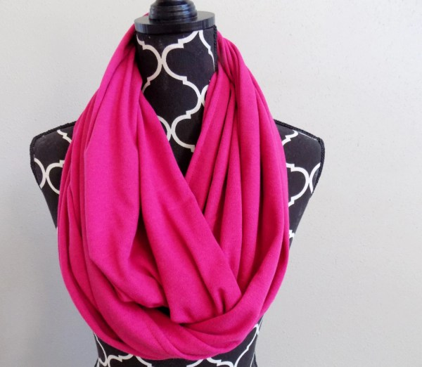 Fuchsia Knit Womens Infinity Scarf Breast Cancer Awareness