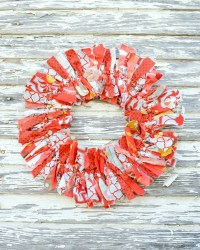 Rust and colonial blue Decorative Fabric Rag Wreath