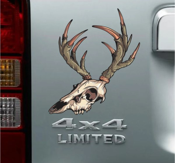 Buck Deer Skull Decal Vinyl Sticker Car Truck Suv