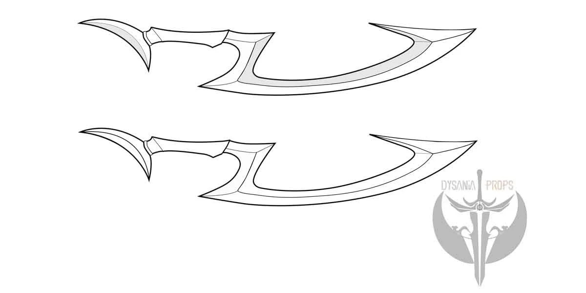 Diana's Crescent moon blade blueprint pattern from