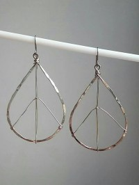 Peace Sign Teardrop Hammered Hoop Earrings. by TezzoroDesigns