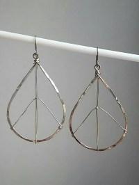 Peace Sign Teardrop Hammered Hoop Earrings. by TezzoroDesigns