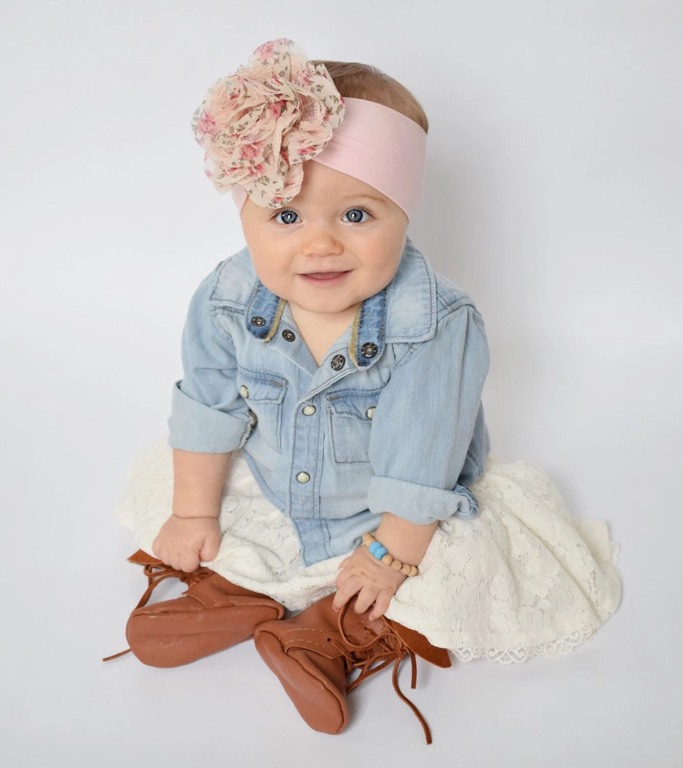 Pink Baby Headwrap Floral Headband Flower Kid By WhimsyWhiskey