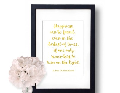 Harry Potter Happiness can be found, even in the darkest of times Albus Dumbldore Quote -30+ Harry Potter Gift Ideas for the Harry Potter Lover in your life. This gift guide includes clothing, home decor, food and anything else Harry Potter!