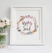 GYPSY SOUL Art Print Feathers Wreath Watercolor Boho Wall ...