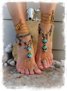 Turquoise Love Barefoot Sandals Boho Festival Native