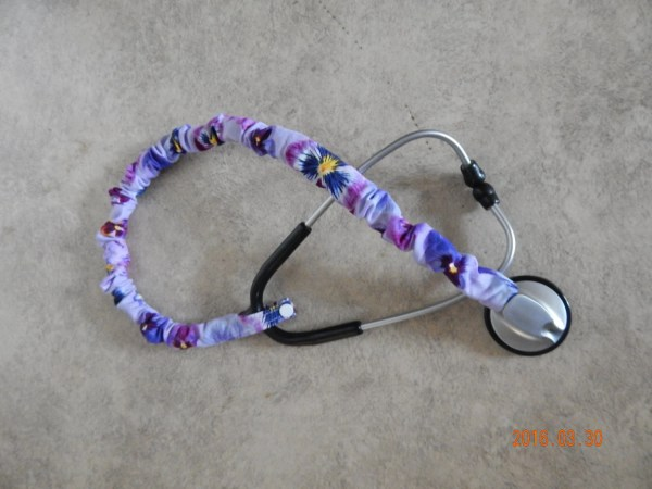 Stethoscope Cover Scrunchie Purple Pansy Protect Bare Neck