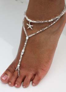 Silver Beach Wedding Barefoot Sandals