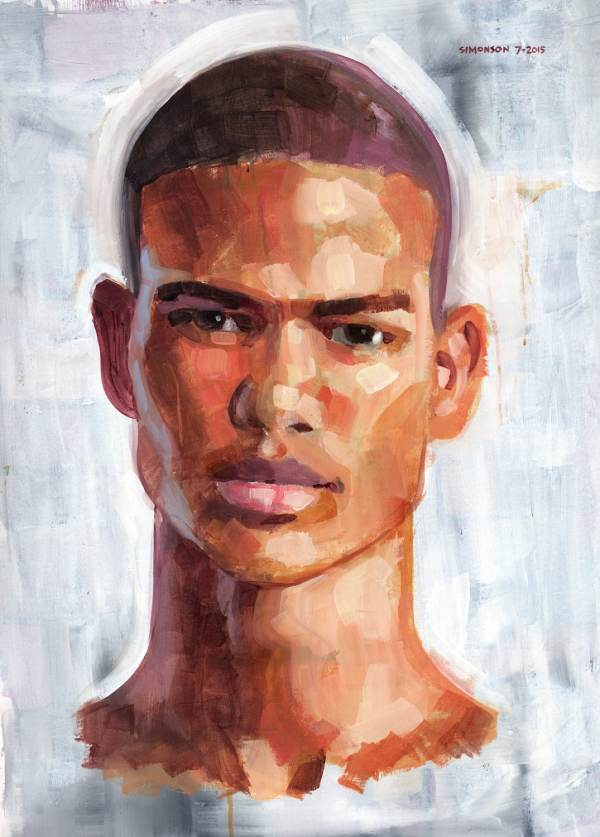 Close-cropped Large 23x29 Acrylic Portrait Of Young