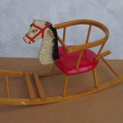 Horseshoe Rocking Chair Round Vintage Wooden Horse Rocker Swing Seat Child Kid