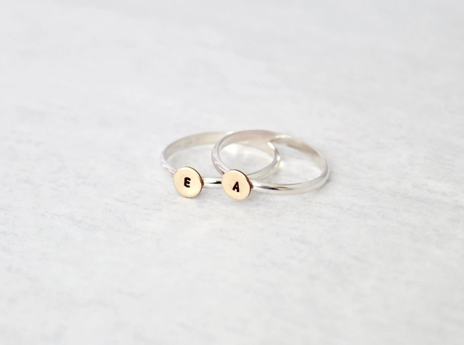 Hand Stamped Sterling Silver Ring. Personalized ring with