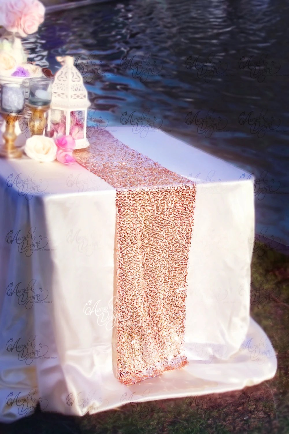 Rose Gold Sequin Table Runner Sparkly Mauve Pink Sequin Runner